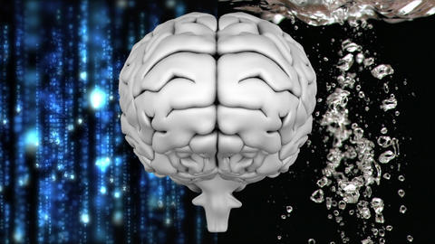 Grey brain with technology and water background Animation