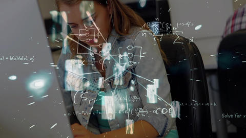 Student working with calculations and mathematics symbols Animation