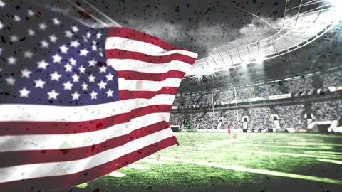 Confetti falling down in stadium Animation