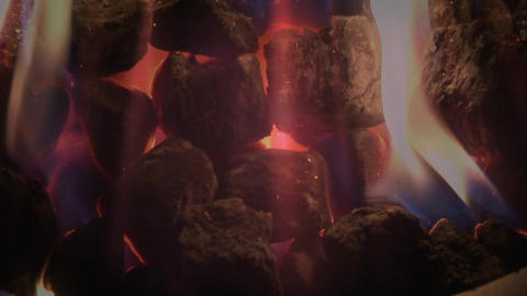 Close up shot of campfire with sparks in animation Animation