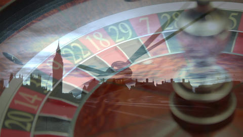 Roulette scrolling with a clock rotating on cityscape Animation