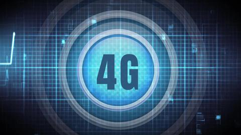 Digital animation of a numeric logo 4G on blue digital backdrop Animation