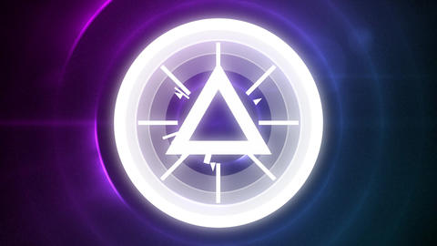 Sparkling triangle with circle on purple background with light effects Animation