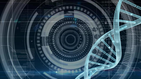DNA rotating against a camera lens in background Animation