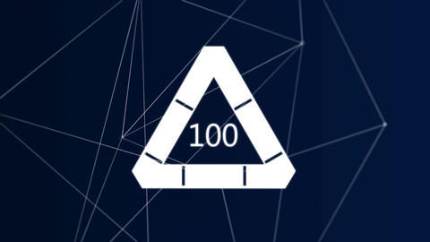 Animation of the number 100 in a loading triangle Animation