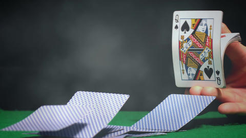 Dealer distributing a cards on green poker table with…, Stock Animation