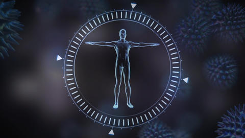 Representation man prototype in a round frame Animation