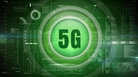 5g logo on a button against technological dashboard Animation