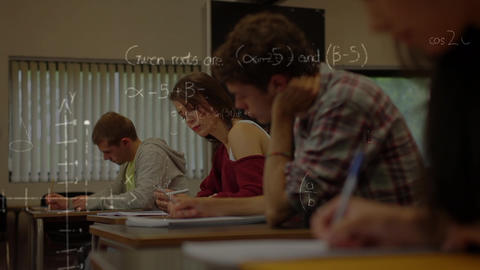 Composition of students working with mathematics symbols in foreground Animation