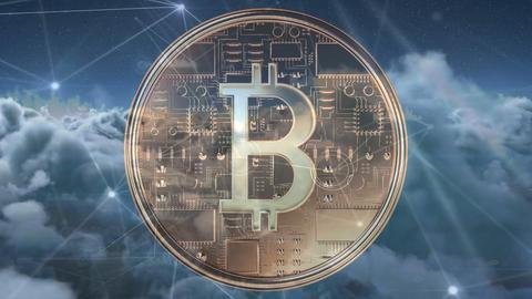 Bitcoin and the blockchain technology 4k Animation