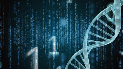 Ilustration of spinning DNA surounded by binary codes Animation