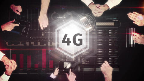 4g logo on a button on the numeric table surrounded by businessmen Animation