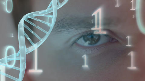 Eye surounded by binary code and spinning DNA helix Animation