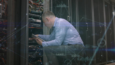 Technician in a server room Animation