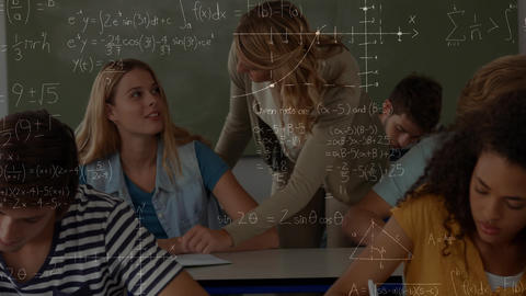 Teacher interacting with a student in a classroom with calculations Animation