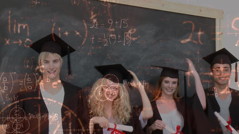 Young graduates in the classroom surrounded by animated mathematical symbols Animation