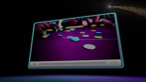 Gambling table with people in luxury casino Animation