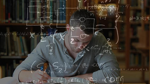 Man studying in a library surrounded by mathematics symbols Animation