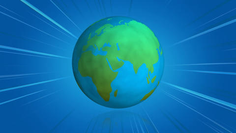 Spinning earth globe with blue comics lines Animation