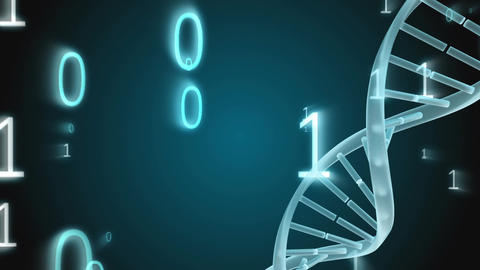 Spinning DNA with binary codes falling Animation
