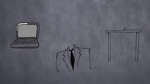 Digital composite of a businessman and his stuff at work Animation