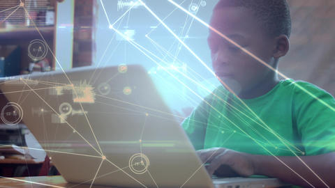 Boy using a laptop at school with data Animation