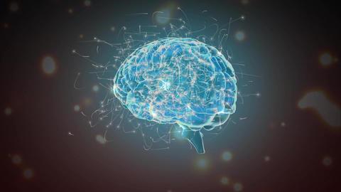 Digital brain and the blockchain technology Animation