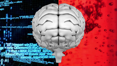 Digitally animated brain with split screen Animation