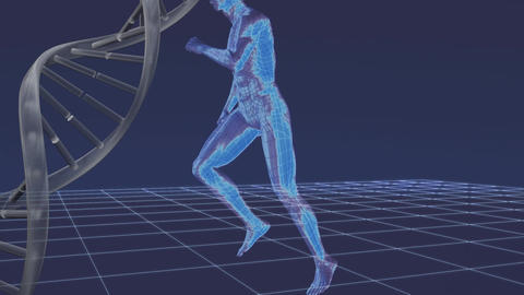 Digital man running on a cyberspace with a DNA helix on the background Animation