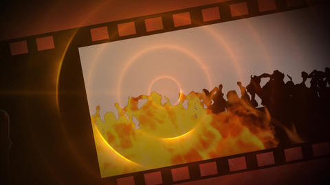 Film roll of a party with fire and shadows Animation