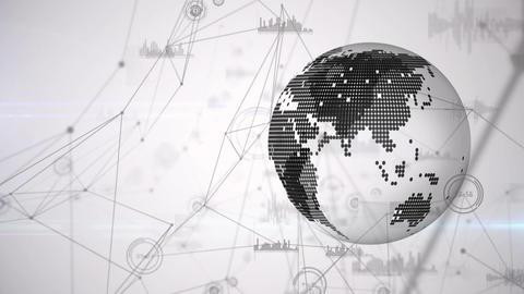 Digital animation of globe with geometric graphic Animation