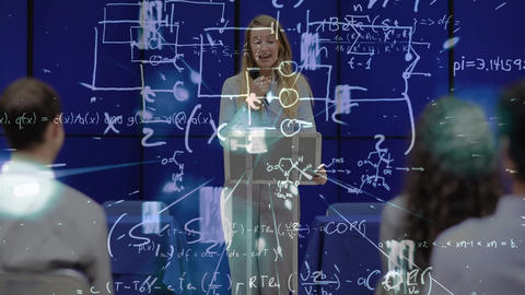 Businesswoman giving lecture with math equations Animation