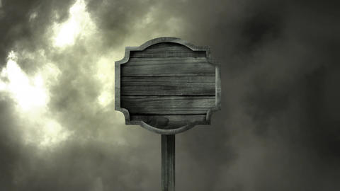 Empty signpost on a storm cloud background Animation