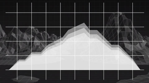 Digital mountain graphic growing on a digital background Animation