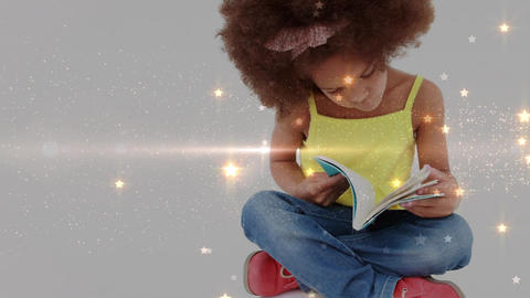Animation of little girl reading a book Animation