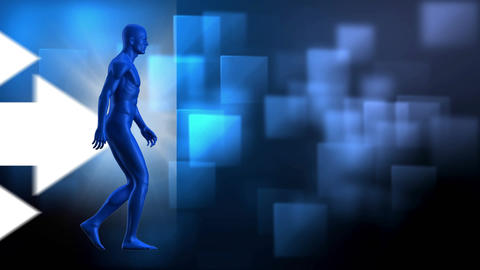 Digital blue man walking on a arrow animated background Animation
