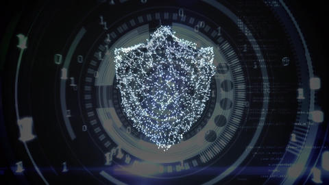 Digital composite of a cyber lock and the binary system Animation