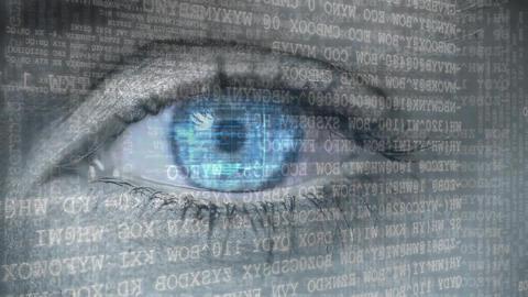 Blue eyes opening to binary codes Animation