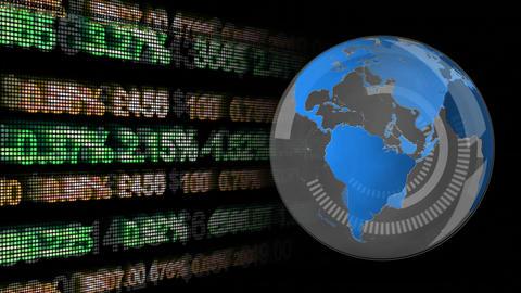 Rotating globe with economic data Animation