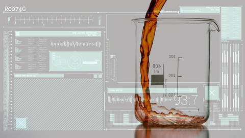 Digital composite of a liquid and measuring beaker Animation