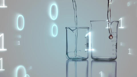 Digital composite of two beakers and the binary system Animation