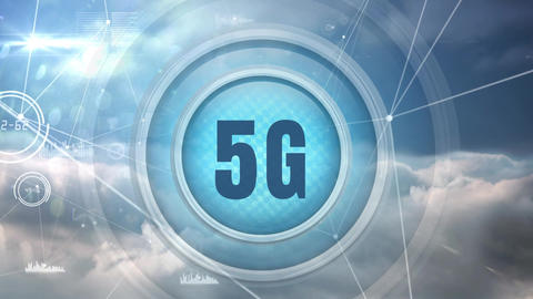 Digital animation of 5G with clouds and sky backdrop Animation
