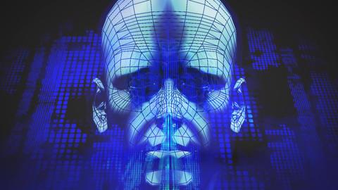 Abstract human head grid Animation