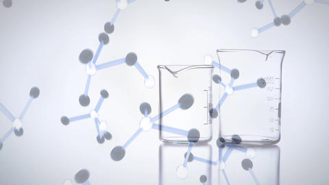 Animation of liquid pouring on beakers with digital molecules falling on the foreground Animation