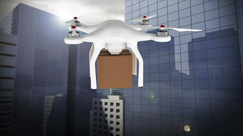 Animation of a drone flying with a parcel against a cityscape view Animation