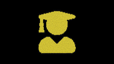 Symbol user graduate is knitted from a woolen thread. Knit like a sweater Animation