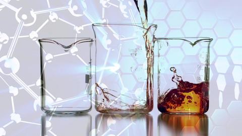 Animation of liquid filling beakers against molecule background Animation