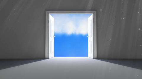 Dark doors opening on a cloudy sky Animation