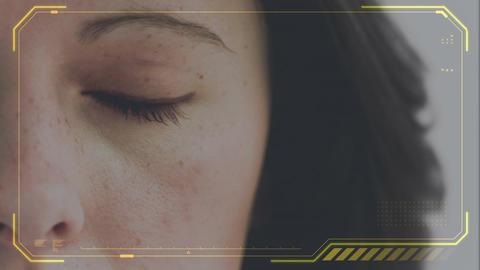 Woman slowly opening left eye Animation