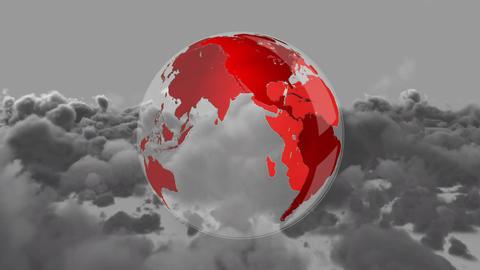 Digital red earth rotating against dark cloudy sky Animation